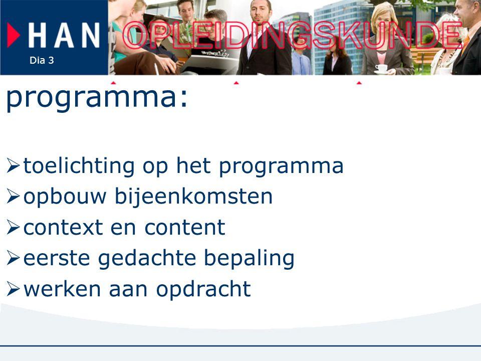 Dia 3 programma:  toelichting op het programma  opbouw bijeenkomsten  context en content  eerste gedachte bepaling  werken aan opdracht