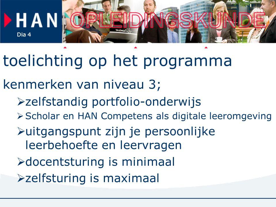 Dia 4 toelichting op het programma kenmerken van niveau 3;  zelfstandig portfolio-onderwijs  Scholar en HAN Competens als digitale leeromgeving  ui