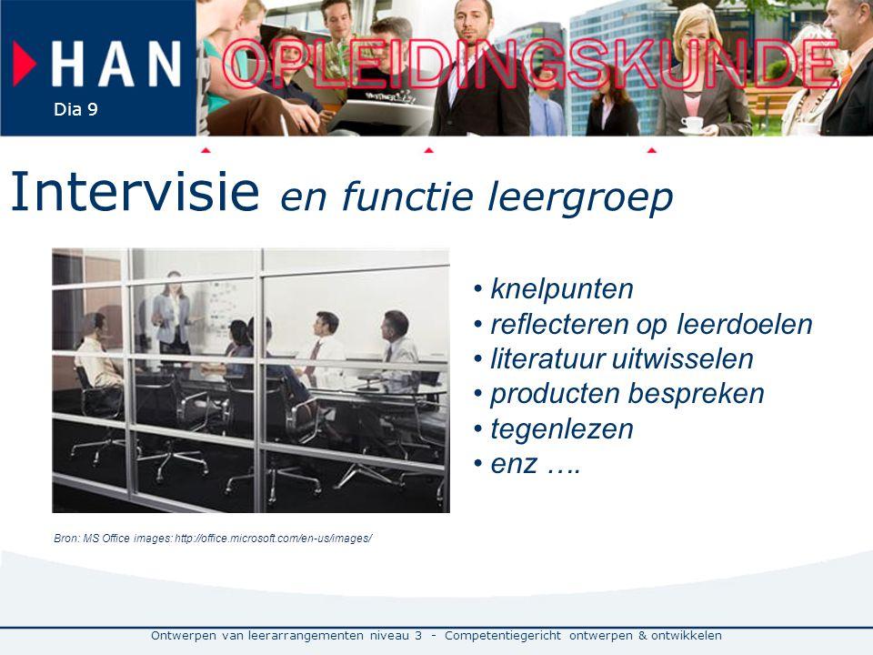 Ontwerpen van leerarrangementen niveau 3 - Competentiegericht ontwerpen & ontwikkelen Dia 9 Intervisie en functie leergroep Bron: MS Office images: ht