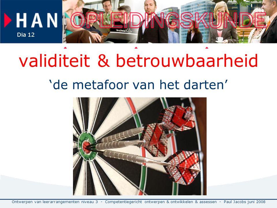 validiteit & betrouwbaarheid 'de metafoor van het darten' Ontwerpen van leerarrangementen niveau 3 - Competentiegericht ontwerpen & ontwikkelen & assessen - Paul Jacobs juni 2008 Dia 12