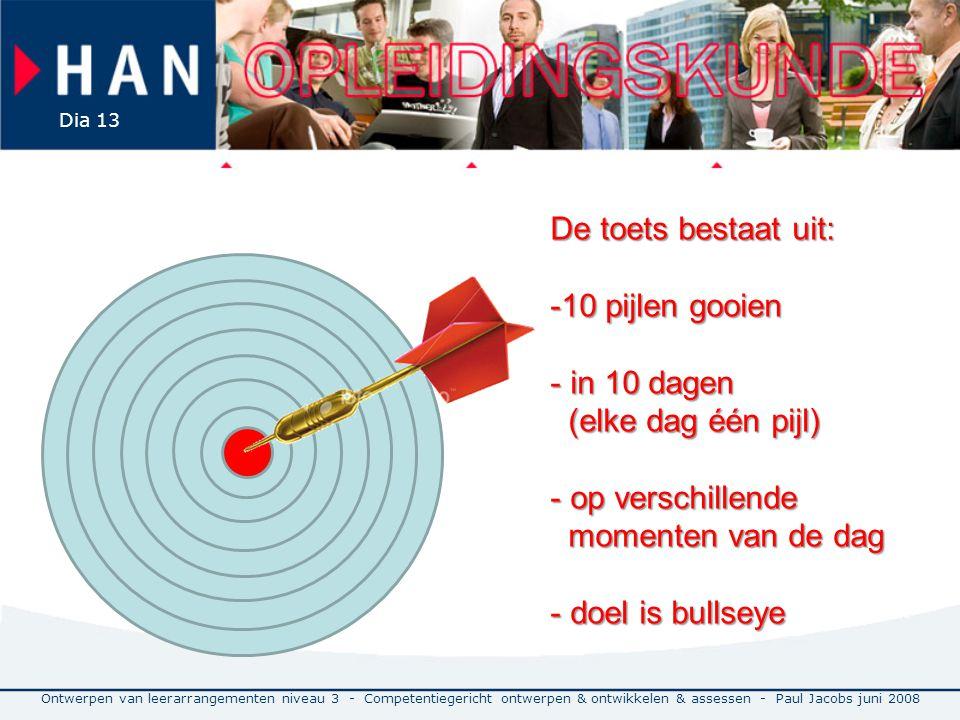 Ontwerpen van leerarrangementen niveau 3 - Competentiegericht ontwerpen & ontwikkelen & assessen - Paul Jacobs juni 2008 Dia 13 De toets bestaat uit: -10 pijlen gooien - in 10 dagen (elke dag één pijl) - op verschillende momenten van de dag - doel is bullseye