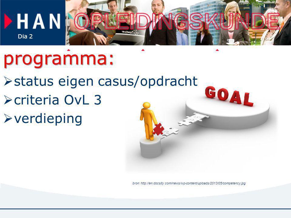 Dia 2 programma:  status eigen casus/opdracht  criteria OvL 3  verdieping bron: http://en.docsity.com/news/wp-content/uploads/2013/05/competency.jp