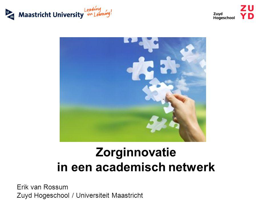 Zorginnovatie in een academisch netwerk Erik van Rossum Zuyd Hogeschool / Universiteit Maastricht