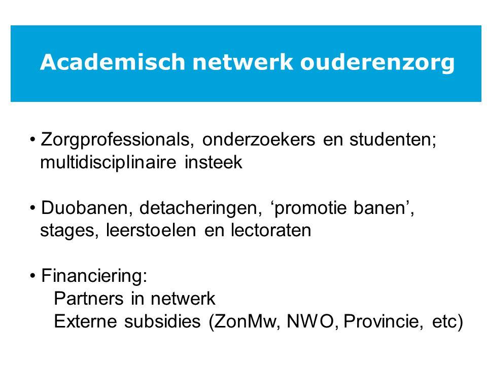Plan: Doorontwikkeling richting academische werkplaats ouderenzorg Uitbreiding met andere zorginstellingen Academisch netwerk ouderenzorg