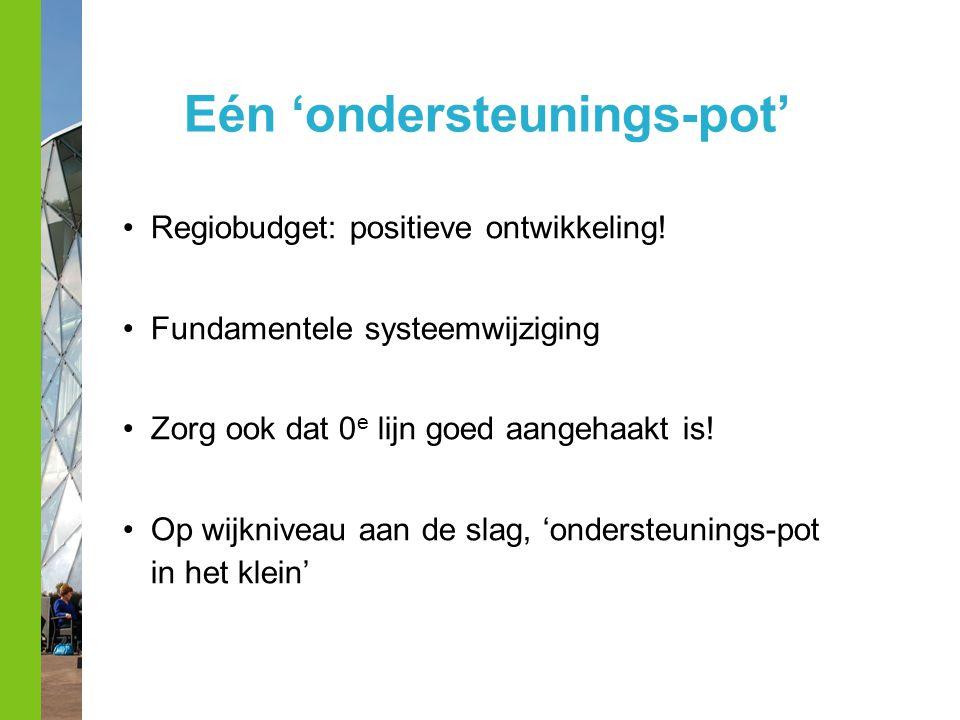Eén 'ondersteunings-pot' Regiobudget: positieve ontwikkeling! Fundamentele systeemwijziging Zorg ook dat 0 e lijn goed aangehaakt is! Op wijkniveau aa