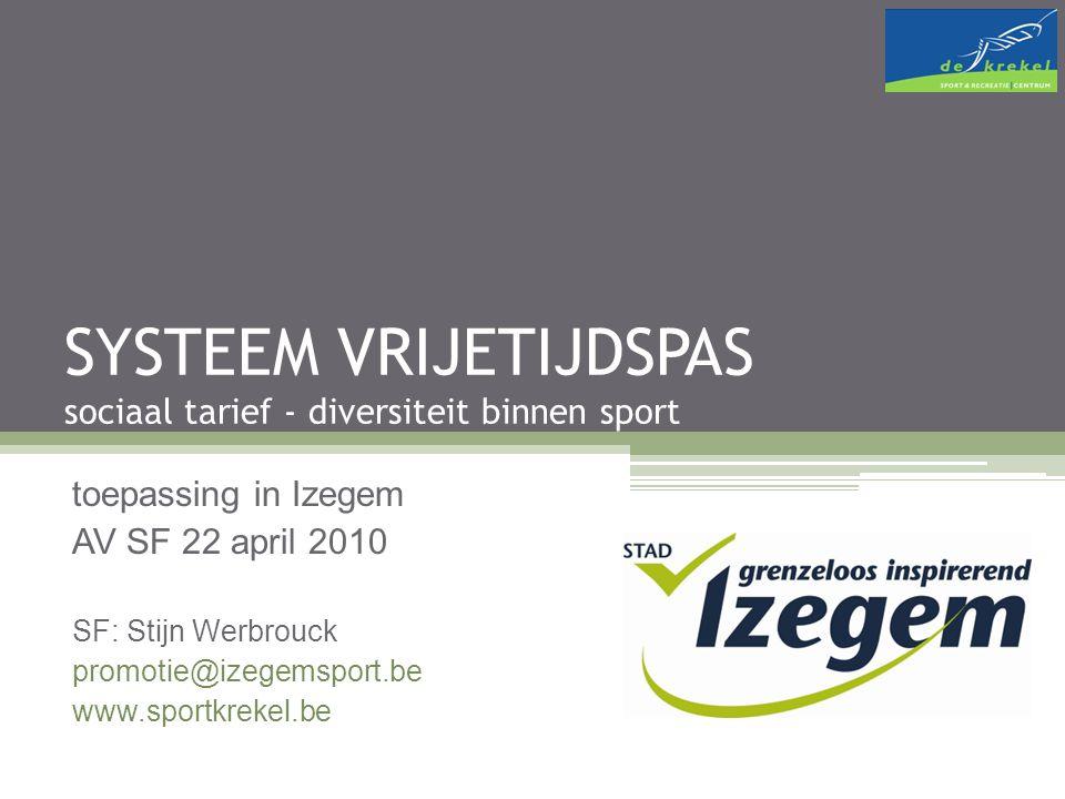 SYSTEEM VRIJETIJDSPAS sociaal tarief - diversiteit binnen sport toepassing in Izegem AV SF 22 april 2010 SF: Stijn Werbrouck promotie@izegemsport.be www.sportkrekel.be