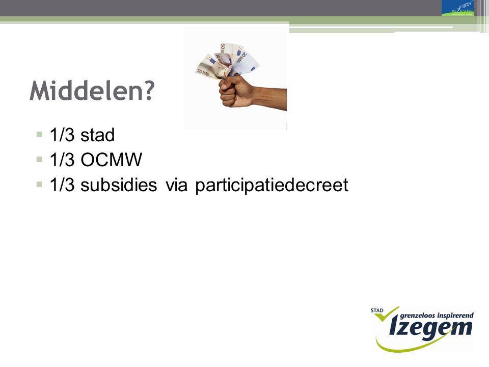 Middelen  1/3 stad  1/3 OCMW  1/3 subsidies via participatiedecreet