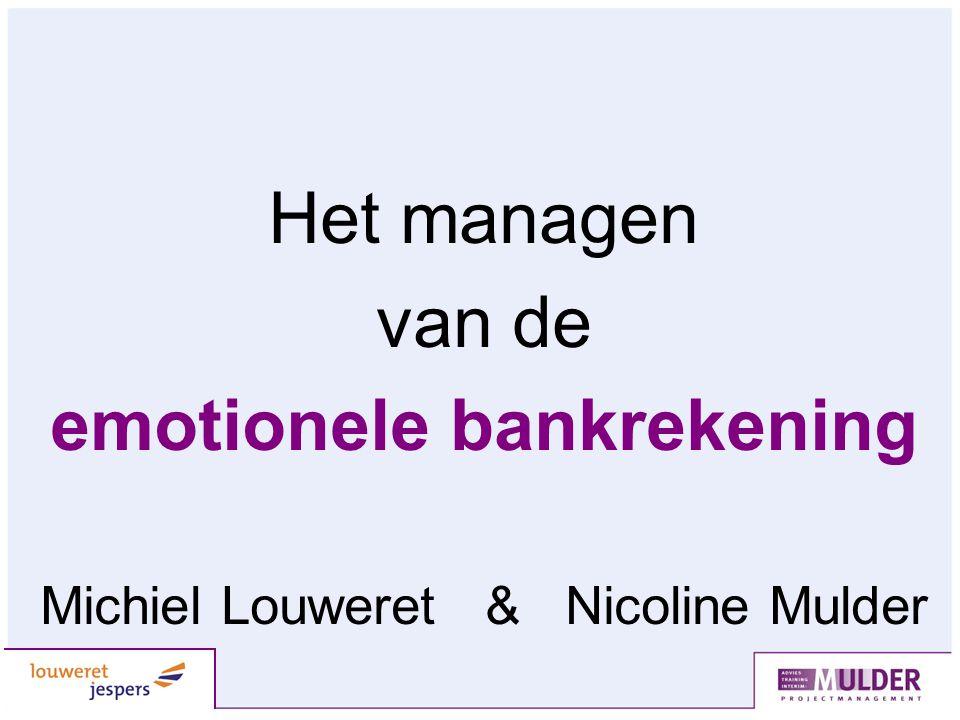 Het managen van de emotionele bankrekening Michiel Louweret & Nicoline Mulder