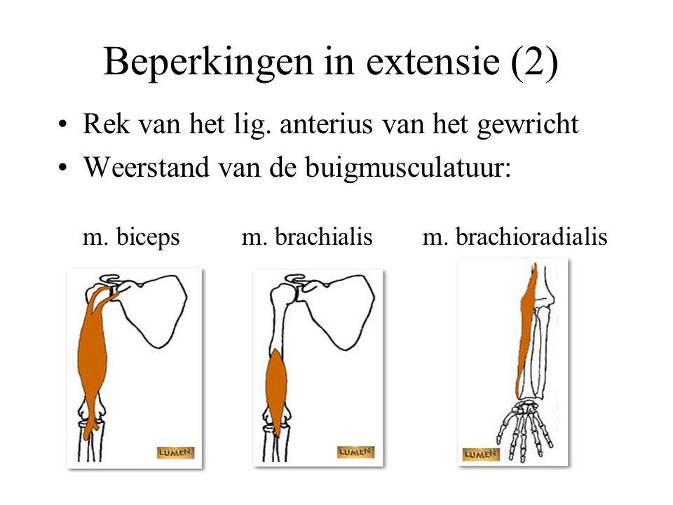 Beperkingen in extensie (2) Rek van het lig.
