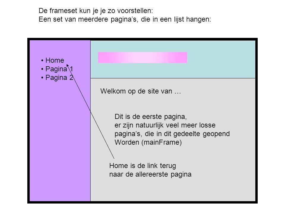 De frameset kun je je zo voorstellen: Een set van meerdere pagina's, die in een lijst hangen: Home Pagina 1 Pagina 2 Welkom op de site van … Dit is de eerste pagina, er zijn natuurlijk veel meer losse pagina's, die in dit gedeelte geopend Worden (mainFrame) Home is de link terug naar de allereerste pagina