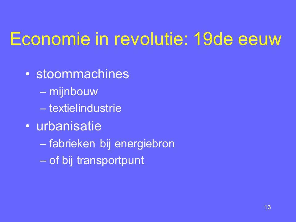 12 Plattelandseconomie 18de eeuw vanaf 16de eeuw: enclosures van gemeenschappelijk gronden: –rijke boeren: opbrengstverhogende vernieuwingen –arme boeren: trek naar stad of huisnijverheid