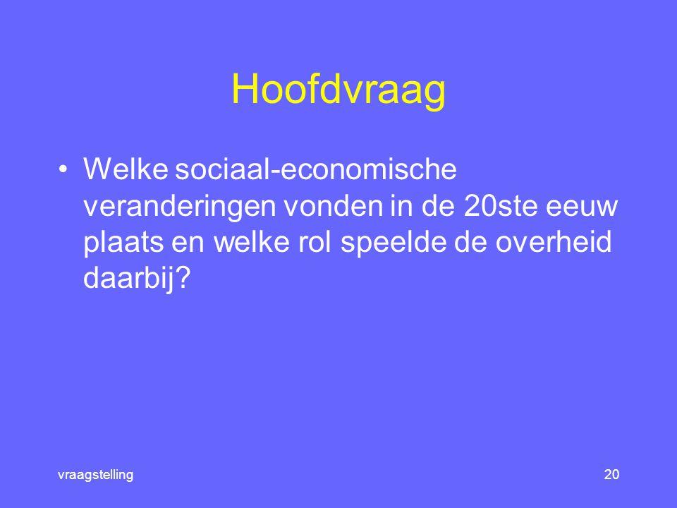 titels19 Nederland in de 20ste eeuw 1.De opkomst van de industriële samenleving 2.Het interbellum: voorspoed en crisis 3.Na de oorlog: de komst van de welvaartsstaat