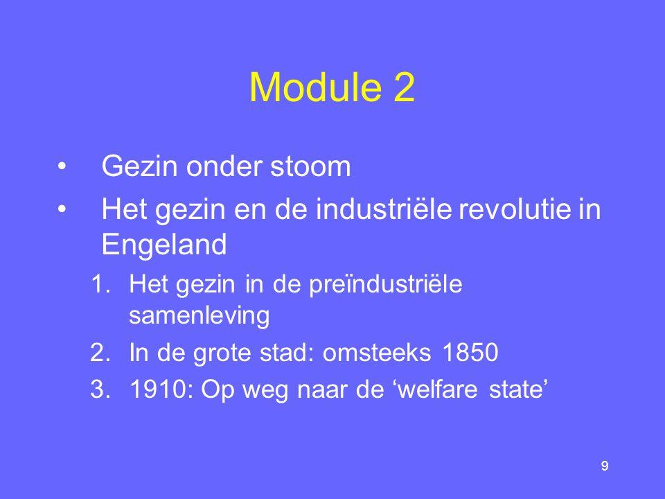 9 Module 2 Gezin onder stoom Het gezin en de industriële revolutie in Engeland 1.Het gezin in de preïndustriële samenleving 2.In de grote stad: omsteeks 1850 3.1910: Op weg naar de 'welfare state'
