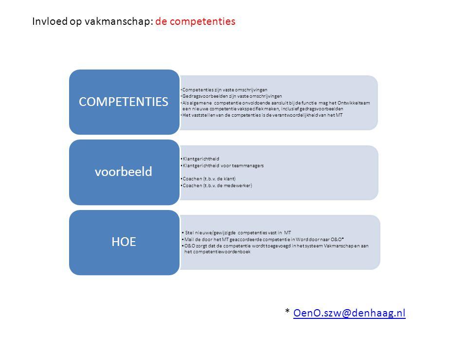 Competenties zijn vaste omschrijvingen Gedragsvoorbeelden zijn vaste omschrijvingen Als een competentie voldoet, maar de functie vraagt om iets specifiekere verduidelijking bij de gedragsvoorbeelden, schrijf dan een Functiespecifieke toelichting op de competenties.