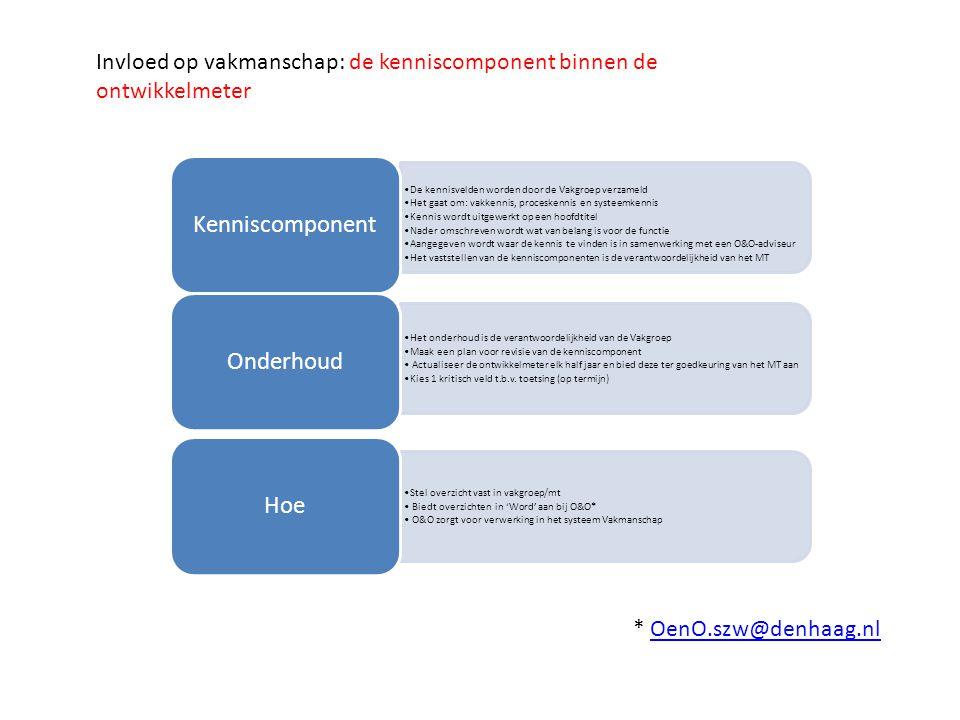 Invloed op vakmanschap: de kenniscomponent binnen de ontwikkelmeter De kennisvelden worden door de Vakgroep verzameld Het gaat om: vakkennis, proceske