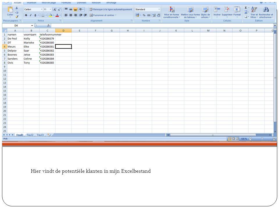 Hier vindt de potentiële klanten in mijn Excelbestand