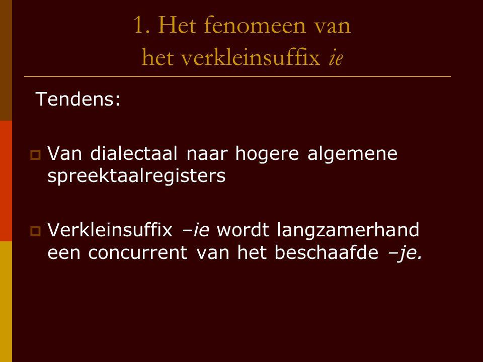 1. Het fenomeen van het verkleinsuffix ie Tendens:  Van dialectaal naar hogere algemene spreektaalregisters  Verkleinsuffix –ie wordt langzamerhand