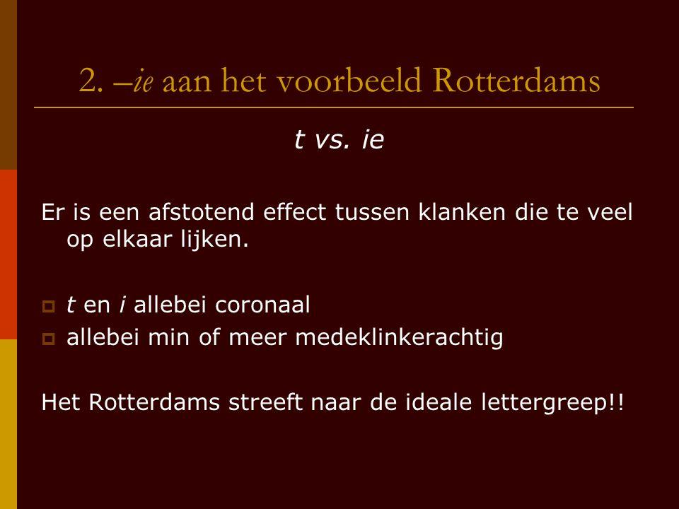 2. –ie aan het voorbeeld Rotterdams t vs. ie Er is een afstotend effect tussen klanken die te veel op elkaar lijken.  t en i allebei coronaal  alleb