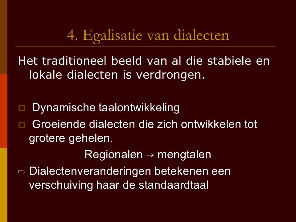 4. Egalisatie van dialecten Het traditioneel beeld van al die stabiele en lokale dialecten is verdrongen.  Dynamische taalontwikkeling  Groeiende di