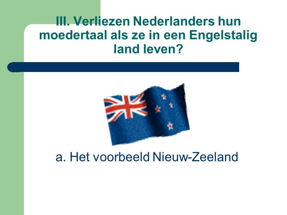 III. Verliezen Nederlanders hun moedertaal als ze in een Engelstalig land leven? a. Het voorbeeld Nieuw-Zeeland