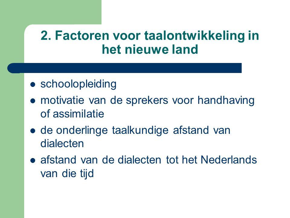 2. Factoren voor taalontwikkeling in het nieuwe land schoolopleiding motivatie van de sprekers voor handhaving of assimilatie de onderlinge taalkundig