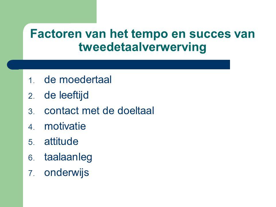 Factoren van het tempo en succes van tweedetaalverwerving 1. de moedertaal 2. de leeftijd 3. contact met de doeltaal 4. motivatie 5. attitude 6. taala