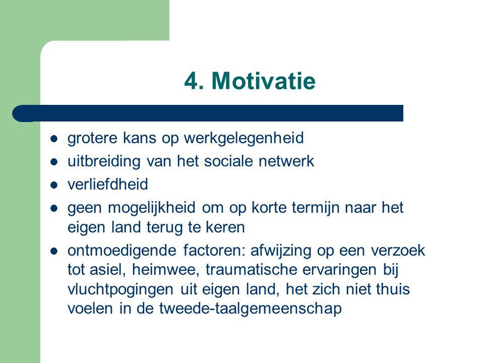 4. Motivatie grotere kans op werkgelegenheid uitbreiding van het sociale netwerk verliefdheid geen mogelijkheid om op korte termijn naar het eigen lan
