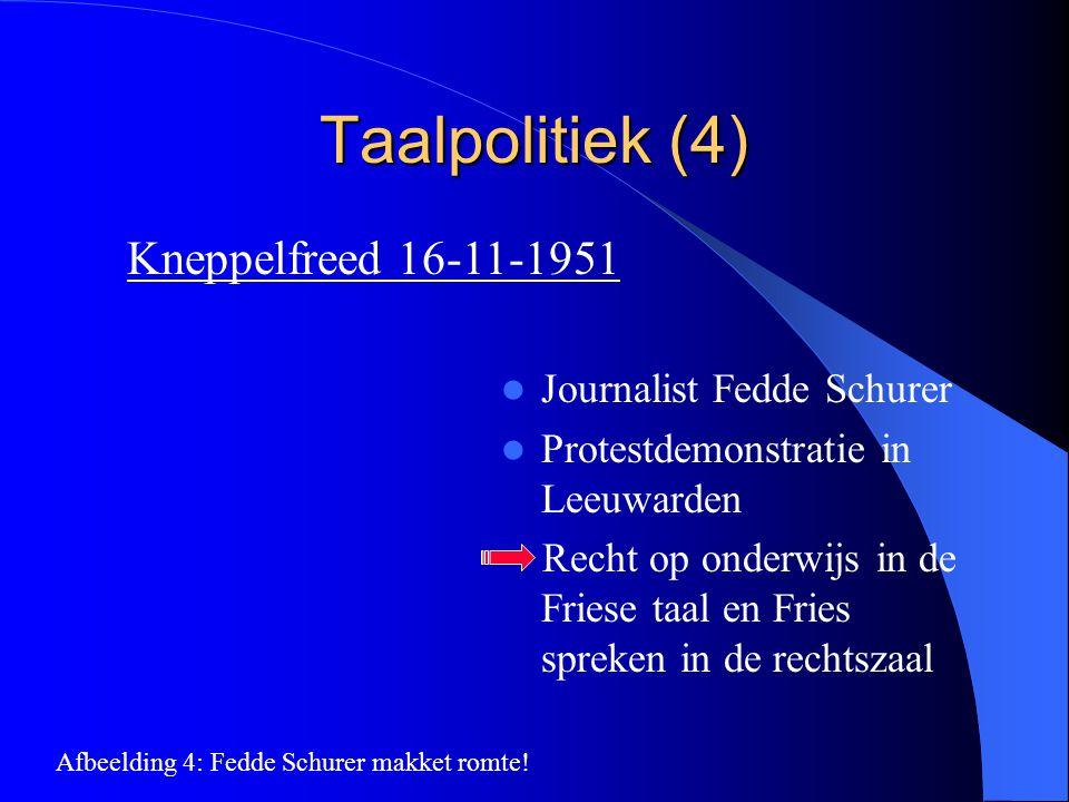 Taalpolitiek (4) Kneppelfreed 16-11-1951 Journalist Fedde Schurer Protestdemonstratie in Leeuwarden Recht op onderwijs in de Friese taal en Fries spre