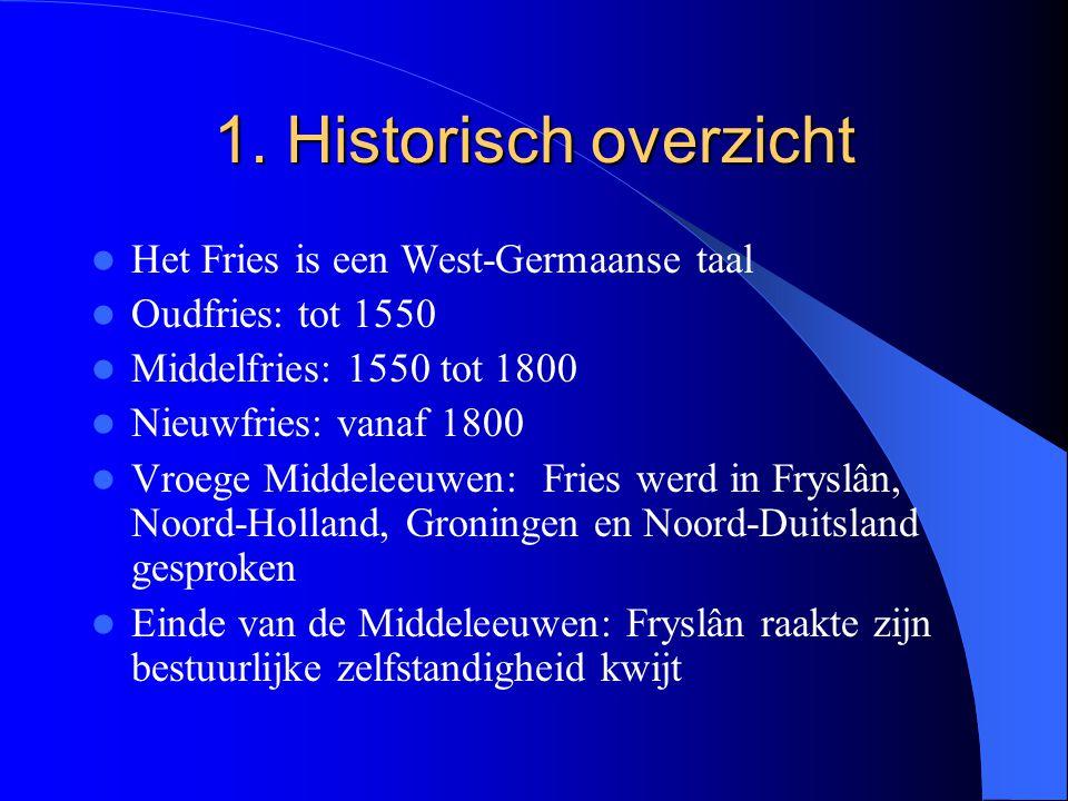 1. Historisch overzicht Het Fries is een West-Germaanse taal Oudfries: tot 1550 Middelfries: 1550 tot 1800 Nieuwfries: vanaf 1800 Vroege Middeleeuwen: