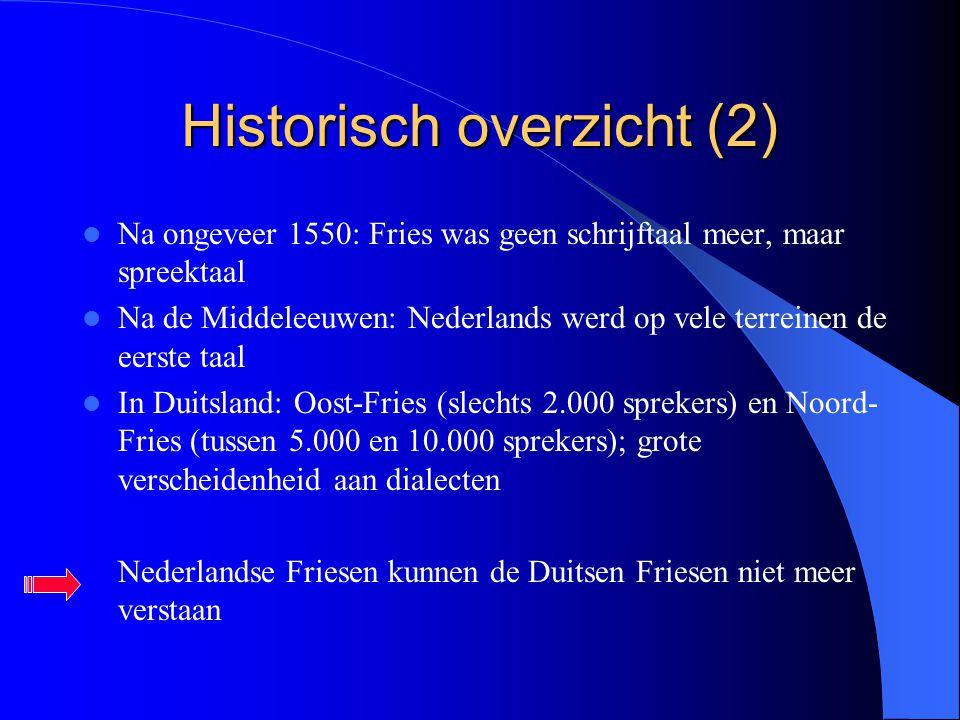 Historisch overzicht (2) Na ongeveer 1550: Fries was geen schrijftaal meer, maar spreektaal Na de Middeleeuwen: Nederlands werd op vele terreinen de e