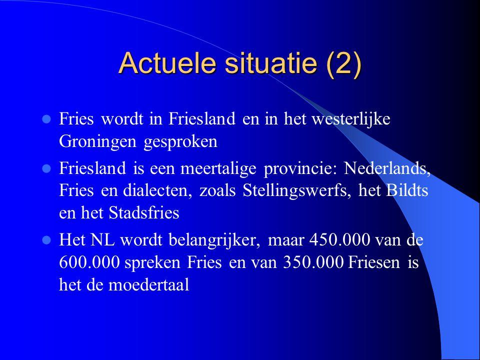 Actuele situatie (2) Fries wordt in Friesland en in het westerlijke Groningen gesproken Friesland is een meertalige provincie: Nederlands, Fries en di