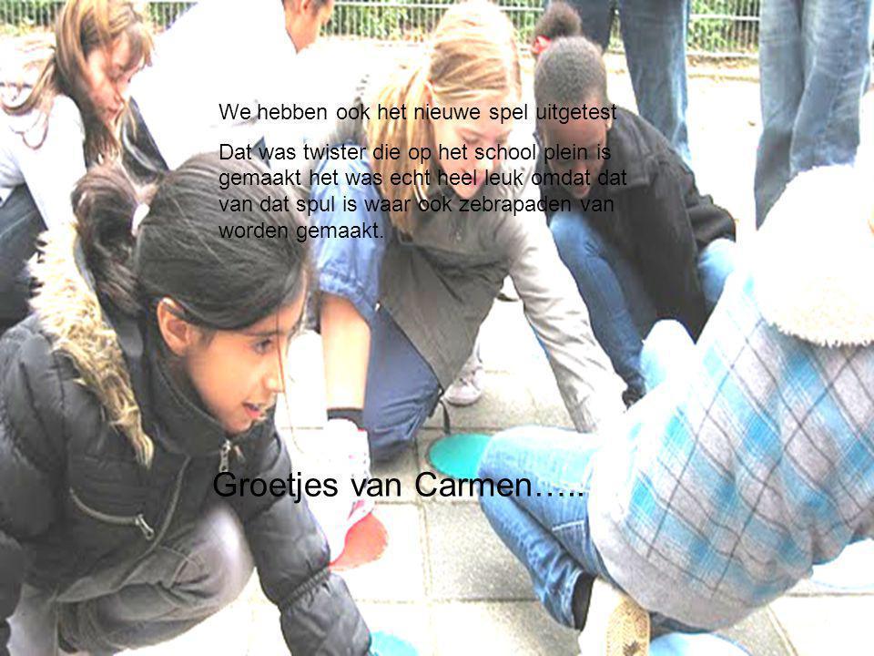 We hebben ook het nieuwe spel uitgetest Dat was twister die op het school plein is gemaakt het was echt heel leuk omdat dat van dat spul is waar ook zebrapaden van worden gemaakt.
