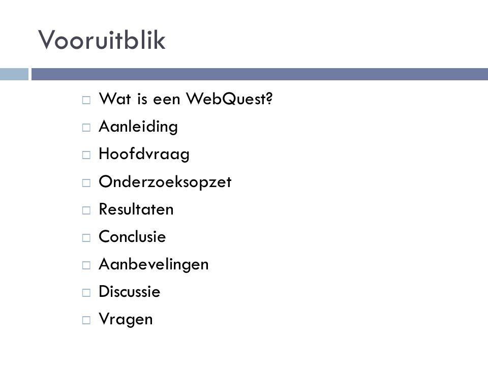 Resultaten Interviews Gebruikers van WebQuests  Reden voor gebruik:  Samenwerken  Actief bezig zijn  Uiteenlopende opdrachten  Leerlingen werken over het algemeen in groepjes  WebQuests niet altijd op basis van de lesstof uitgekozen  Leerkrachtenpagina 'handig'