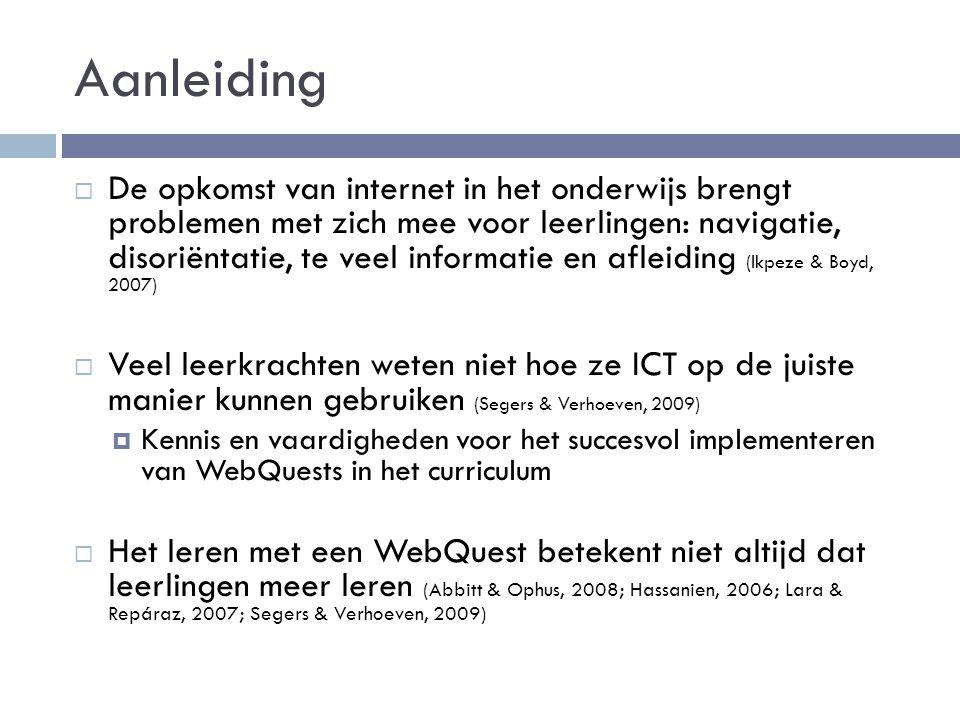 Resultaten Interviews Niet-gebruikers van WebQuests  Reden om het niet te gebruiken:  Niet bekend met het concept  Webpaden  Veelvuldig gebruik andere ICT-toepassingen  Onderwijs: samenwerken, motivatie door verschillende werkvormen en goede lesvoorbereiding, vakoverstijgende opdrachten