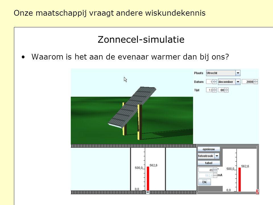 Onze maatschappij vraagt andere wiskundekennis Zonnecel-simulatie Waarom is het aan de evenaar warmer dan bij ons