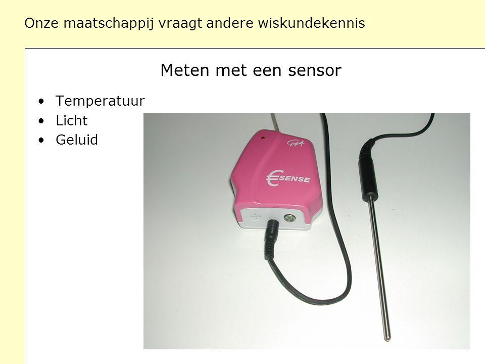 Onze maatschappij vraagt andere wiskundekennis Meten met een sensor Temperatuur Licht Geluid