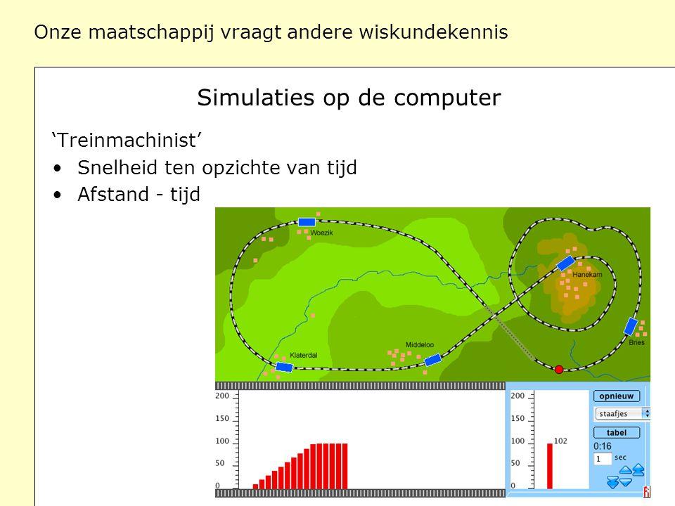 Onze maatschappij vraagt andere wiskundekennis Simulaties op de computer 'Vissen en konijnen' Groei van de populatie