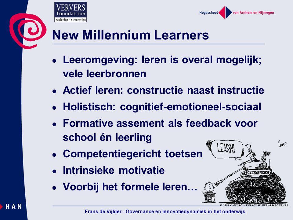 Leren organiseren voor de New Millennium Learners Frans de Vijlder
