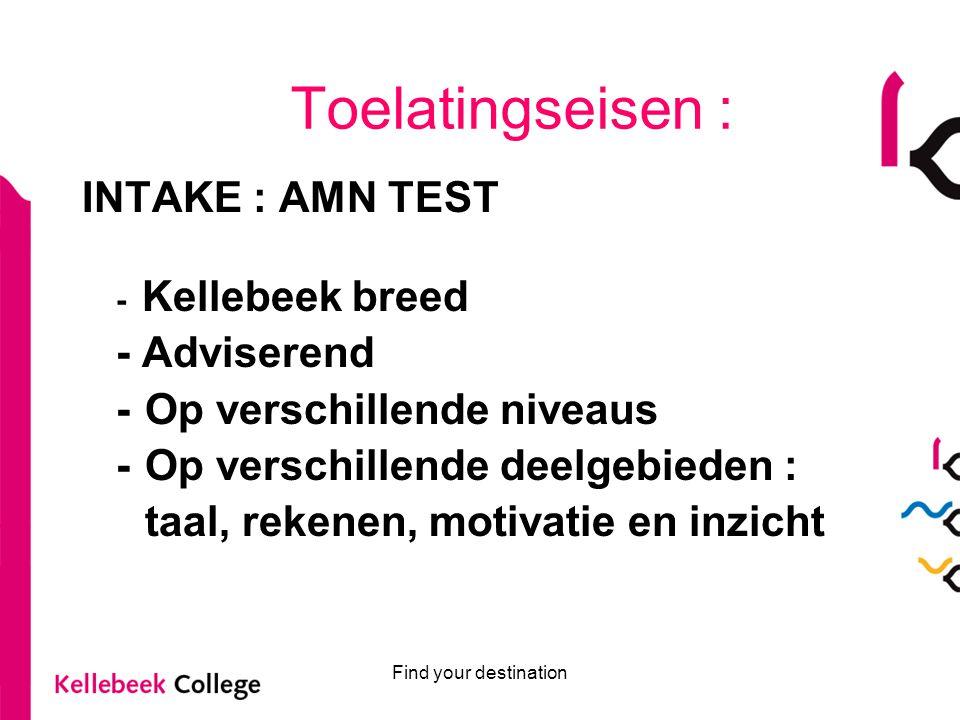 Find your destination Toelatingseisen : INTAKE : AMN TEST - Kellebeek breed - Adviserend - Op verschillende niveaus - Op verschillende deelgebieden :