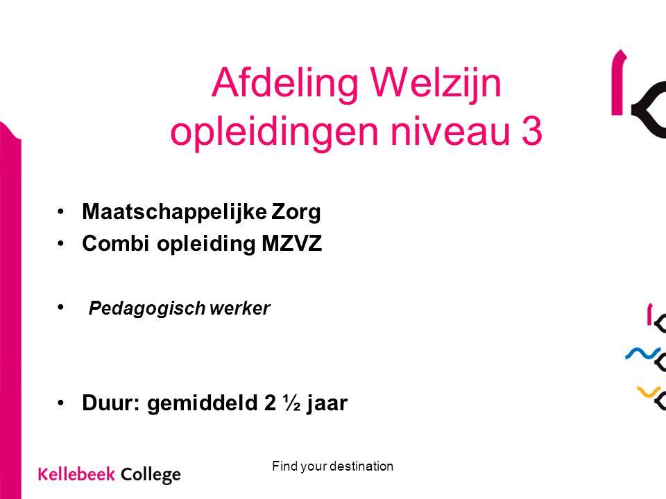 Find your destination Afdeling Welzijn opleidingen niveau 4 Duur: 3 jaar (bij voldoende aanmeldingen) 1 jaar na niveau 3 Persoonlijk begeleider specifieke doelgroepen Persoonlijk begeleider gehandicaptenzorg Onderwijsassistent