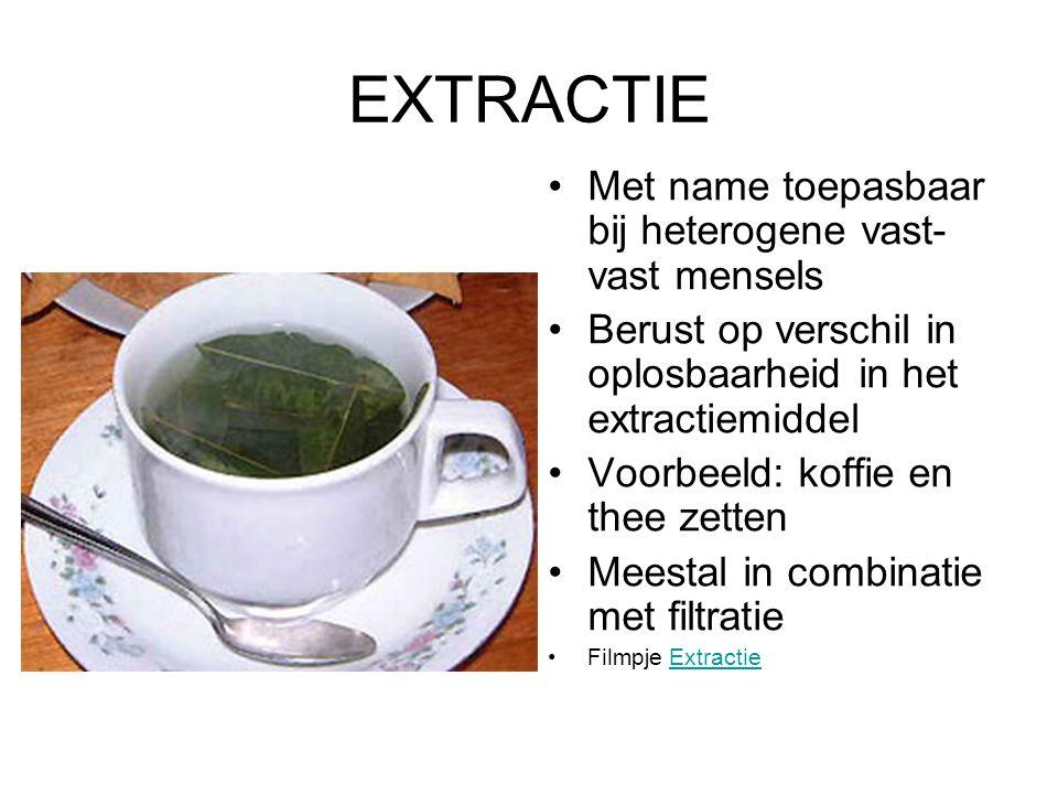 EXTRACTIE Met name toepasbaar bij heterogene vast- vast mensels Berust op verschil in oplosbaarheid in het extractiemiddel Voorbeeld: koffie en thee z