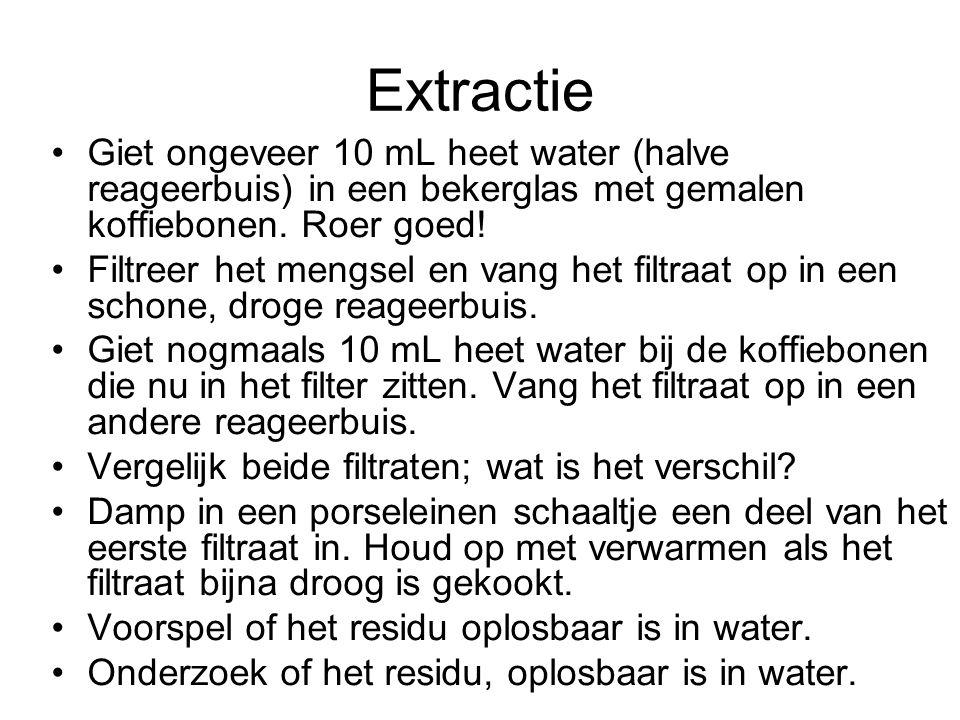 Extractie Giet ongeveer 10 mL heet water (halve reageerbuis) in een bekerglas met gemalen koffiebonen. Roer goed! Filtreer het mengsel en vang het fil