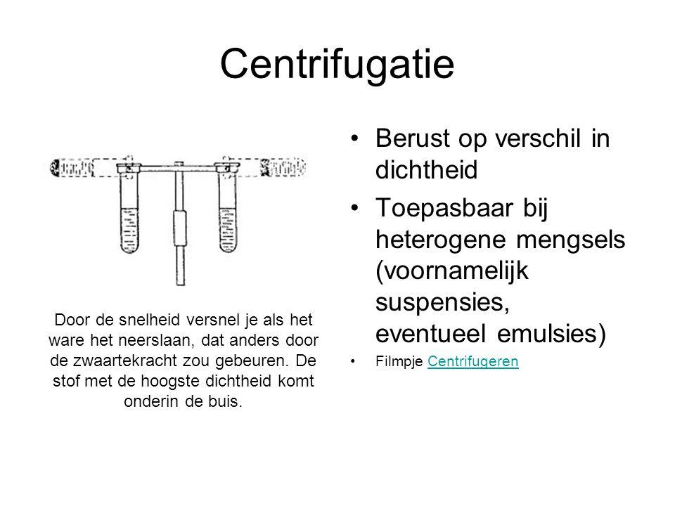 Centrifugatie Berust op verschil in dichtheid Toepasbaar bij heterogene mengsels (voornamelijk suspensies, eventueel emulsies) Filmpje CentrifugerenCe