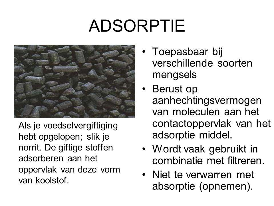 ADSORPTIE Als je voedselvergiftiging hebt opgelopen; slik je norrit. De giftige stoffen adsorberen aan het oppervlak van deze vorm van koolstof. Toepa