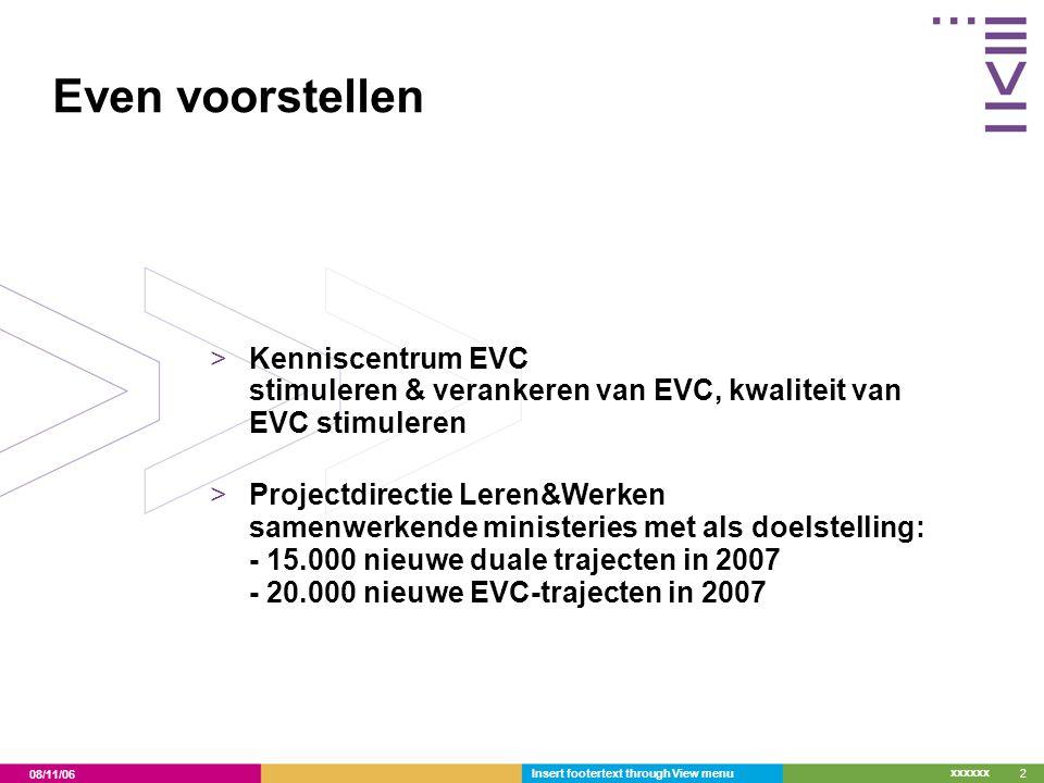 08/11/06 xxxxxx Insert footertext through View menu2 Even voorstellen >Kenniscentrum EVC stimuleren & verankeren van EVC, kwaliteit van EVC stimuleren