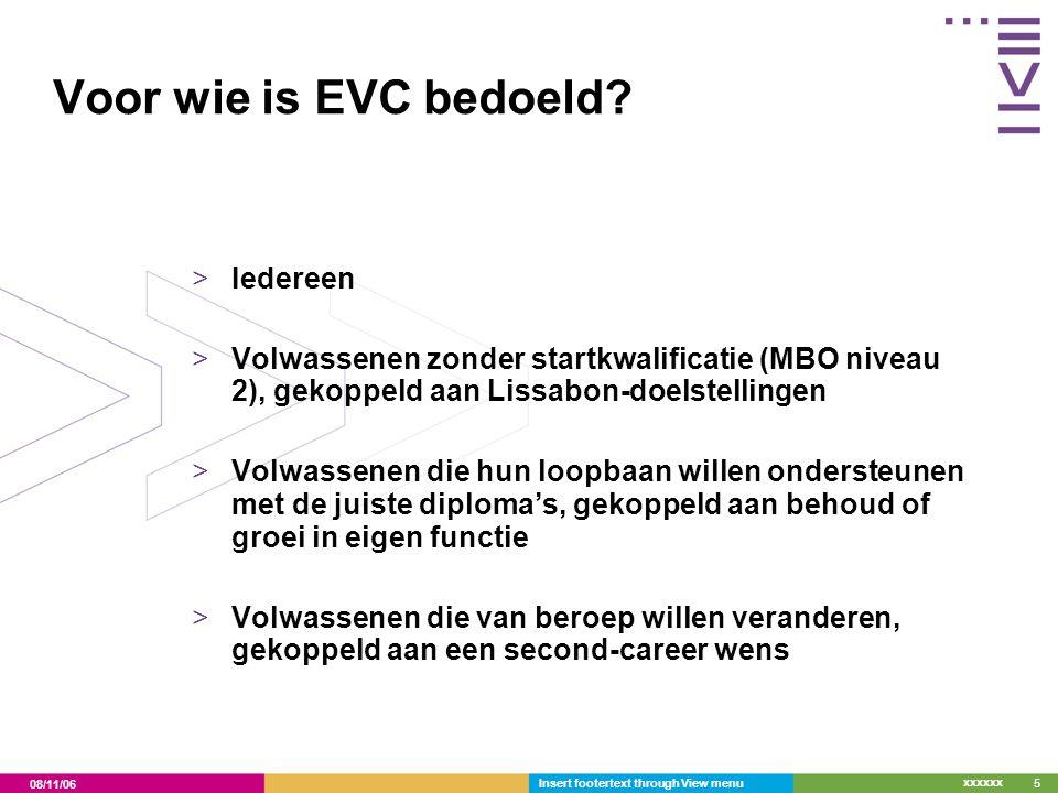 08/11/06 xxxxxx Insert footertext through View menu5 Voor wie is EVC bedoeld? >Iedereen >Volwassenen zonder startkwalificatie (MBO niveau 2), gekoppel