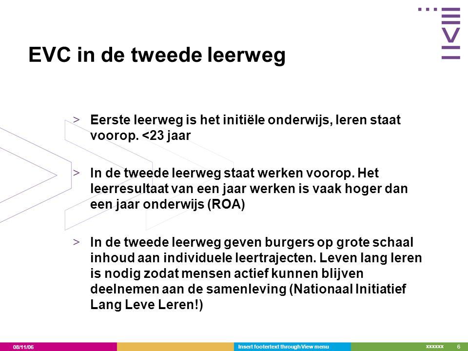 08/11/06 xxxxxx Insert footertext through View menu6 EVC in de tweede leerweg >Eerste leerweg is het initiële onderwijs, leren staat voorop. <23 jaar
