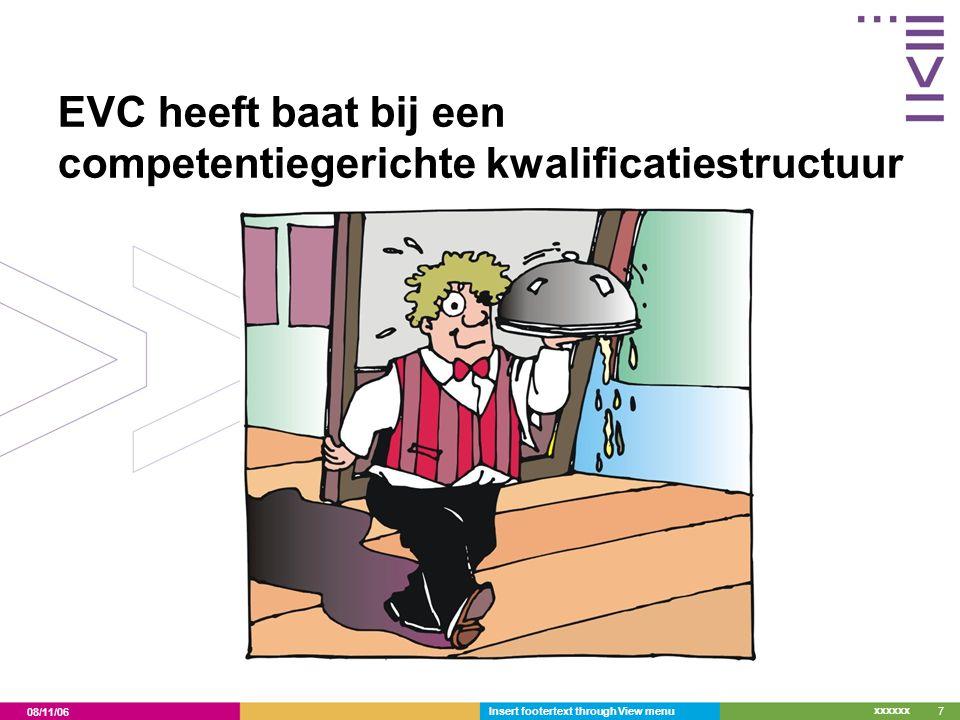08/11/06 xxxxxx Insert footertext through View menu7 EVC heeft baat bij een competentiegerichte kwalificatiestructuur