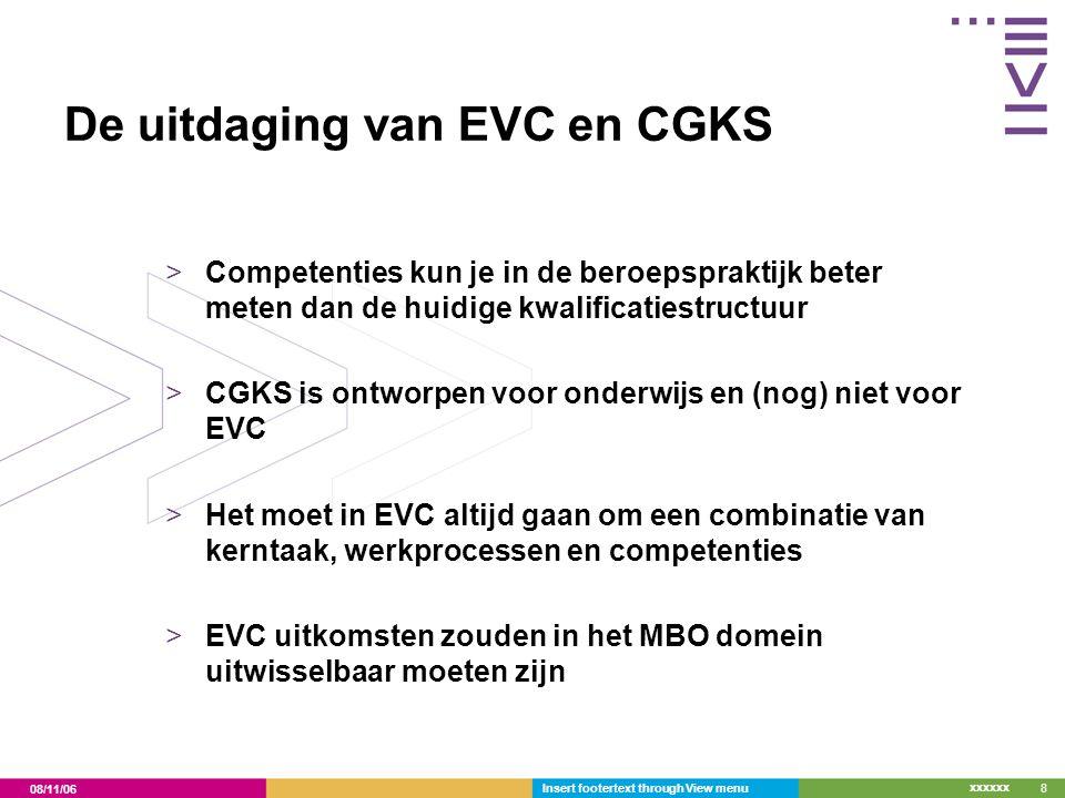 08/11/06 xxxxxx Insert footertext through View menu8 De uitdaging van EVC en CGKS >Competenties kun je in de beroepspraktijk beter meten dan de huidig