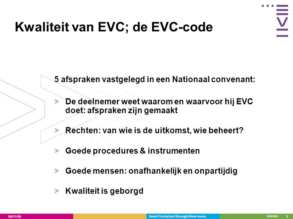 08/11/06 xxxxxx Insert footertext through View menu10 Erkende EVC aanbieders >Opleiders, exameninstellingen, werkgevers en arbeidsbemiddelaars die EVC uitvoeren volgens de EVC code.